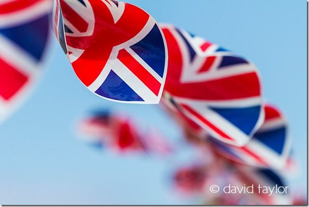 Union Jack bunting blowing in the breeze at a Diamond Jubilee celebration in June 2012, Northumberland, England, Restricting depth of field, depth of field, DOF, small depth of field, free monthly photography competition, Online Photography Courses, focusing