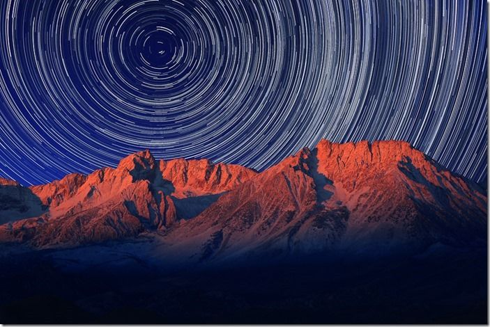 Night Exposure Star Trails of the Sky in Bishop California