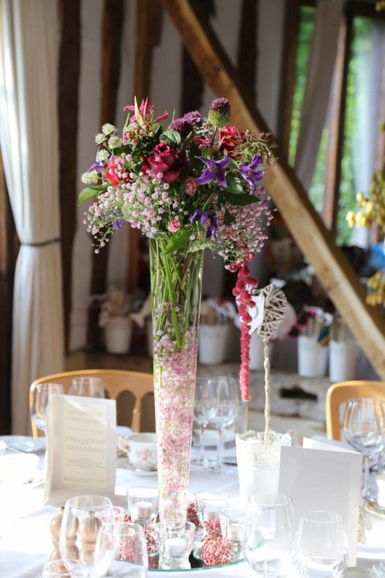 Wedding flowers:  Pink gypsophila