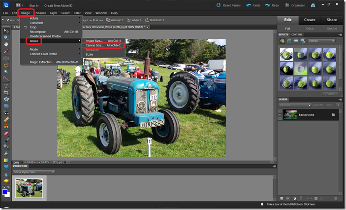 Select Canvas Resize option under Image menu of Adobe Photoshop Elements