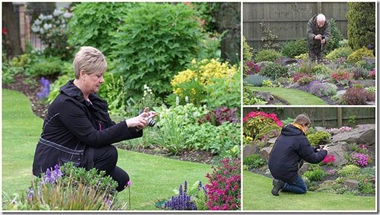 Gardeners taking photos
