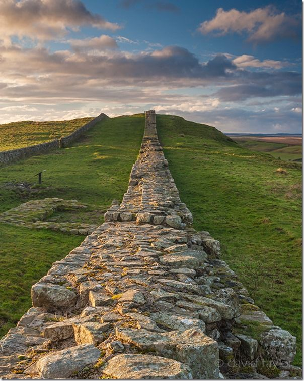 A stretch of Hadrian's Wall near Caw Gap in the Northumberland National Park, England