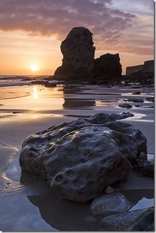 Periclase and Magnesian Limestone sea stack in Marsden Bay near South Shields and Whitburn, South Tyneside, England