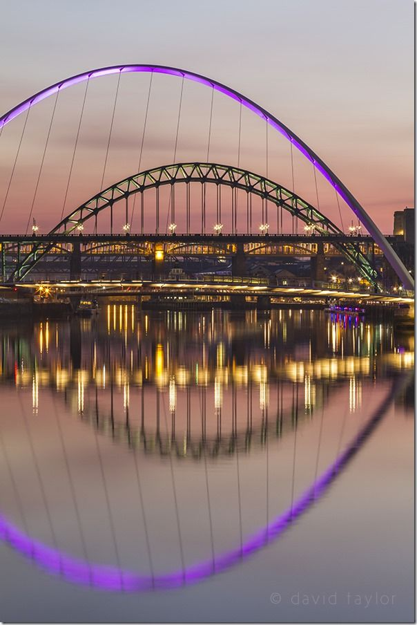 The bridges of Newcastle upon Tyne and Gateshead lit on winter's evening, Tyne and Wear, England, Filters, Exposure, Blown highlights, Graduated ND filter, Natural Graduated filters, what is a graduated ND filter?, Balancing Exposure,