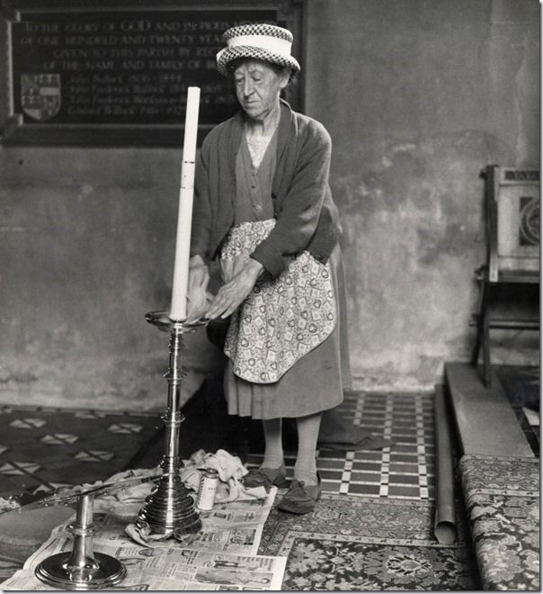 Church cleaner, Ashbrittle, Somerset, 1950s