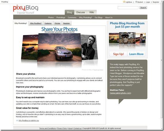 Photo sharing community.Pixyblog