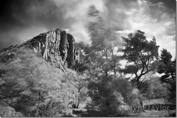 Cawfields Crag on a windy summer's afternoon, Hadrian's Wall Country, Northumberland, England, Black & Whaite Photography, online photography course, Black and white, Mono, conversion, Black & White Landscape, landscape photography
