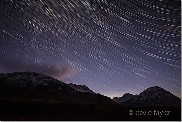 Star trail of the south-western sky over Buachaille Etive Mor in the Scottish Highlands