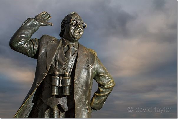 Statue in the seaside resort of Morecambe, Lancashire, England, commemorating the comedian Eric Morecambe