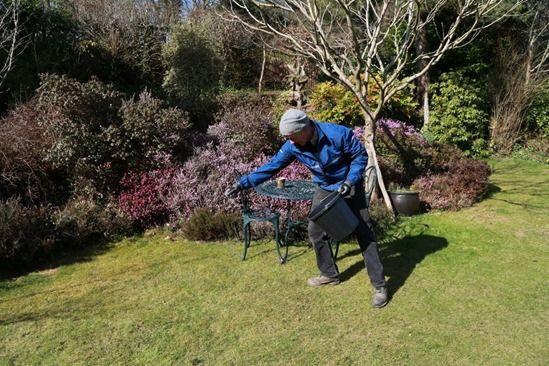 9 applying lawn fertiliser by hand