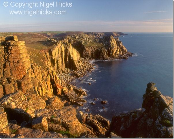 A sunset view of Pordenack Point, seen from Land's End, nr Penzance, Cornwall, Great Britain.