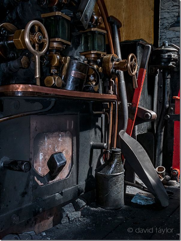 The theatrically lit footplate of the Renishaw Ironworks No.6 locomotive on display in the Tanfield Railway Museum, County Durham, Shaddows, Creative use of  Shadows, shadows in your photography, light, contrast, Nigel Hicks Photography, online photography courses,