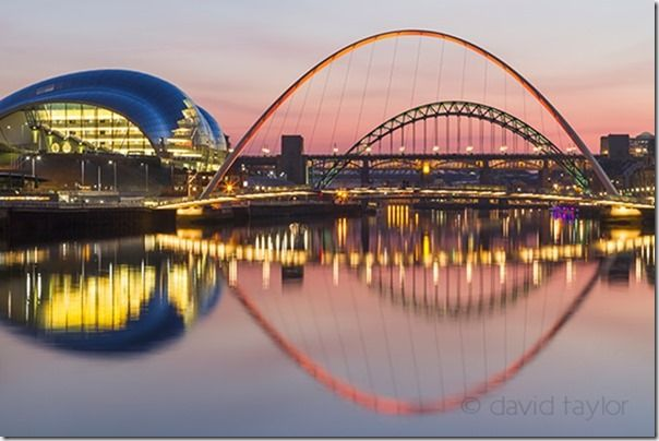 The bridges of Newcastle upon Tyne and Gateshead lit on winter's evening, Tyne and Wear, England, Composition, lead-in, lead in, lines, landscape, photography, landscape photography,
