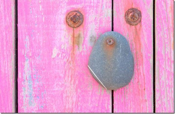 door with stone