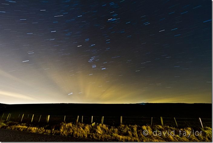 Star trails in a rural location in Northumberland, England