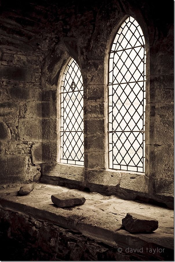 Windows in the chapel of Inchmahome Priory on an island in the middle of the Lake of Mentieth near Stirling, Scotland, Documentary Photography, Street Photography, Photography classes, photography courses, Themes, Story telling images, Establishing Shot,