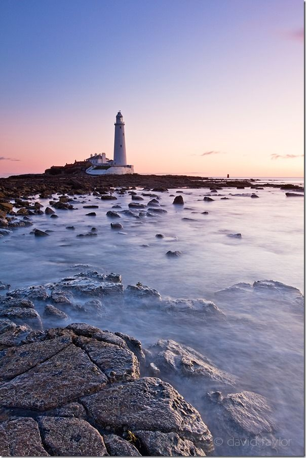 St. Mary's Lighthouse on the Northumbrian coast near the town of Whitley Bay, England. The lighthouse was completed in 1898 and remained in operation until 1984. Reaching the island, on which the lighthouse sits, is possible across a causeway only during low tide