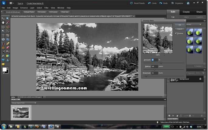 Sharpening your Black and White Photograph  - Converting a colorful photograph into Black and White with good contrast & Authentic look - Adobe Photoshop Elements