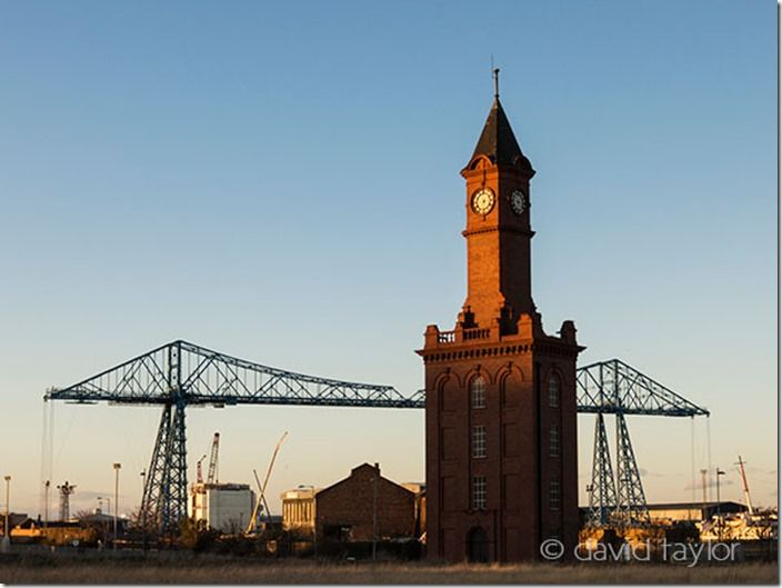 Middlesbrough's Dock Clock Tower with the Transporter Bridge behind, Teesside, England