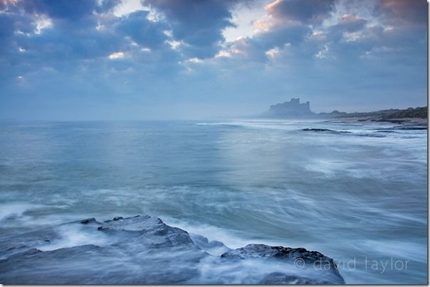 Bamburgh Castle at first light from a Whin Sill rock shelf north of the castle, Northumberland, England, Long exposure, Exposure, Night Photography, Low Light Photography, landscape photography, seascape, sea, online photography courses