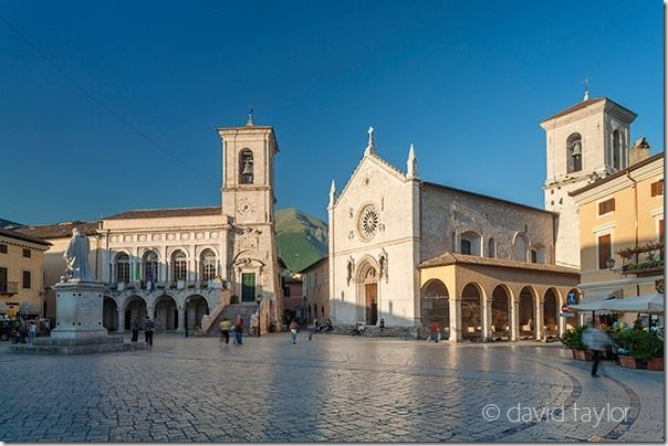 The main square of the town of Norcia, a market town in the Parco Nazionale dei Monti Sibillini, Umbria, Italy, Tilt and Shift Lenses, Tilt and Shift Lens, Canon Tilt and Shift Lens, Nikon Tilt and Shift Lens, Samyang/Rokinon tilt and shift lens, 24mm, 45mm, 85mm, 90mm