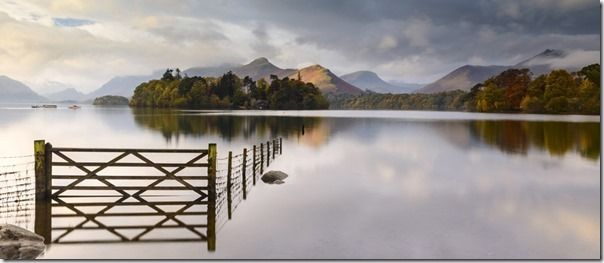 Derwentwater, early morning view and reflection, The Lake District, UK. October 2012.