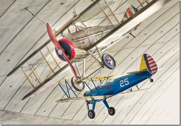 Replica of a SPAD XIII and Stearman PT-17 Kaydet in the American Air Museum gallery at Imperial War Museum Duxford, Cambridgeshire, England, Image Stabilisation, IS, Lens, camera, lenses, Camera Shake, hand held, movement,