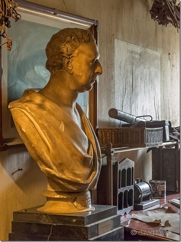 Bust of George Stephenson, Victorian engineer, at Beamish Museum, County Durham, England