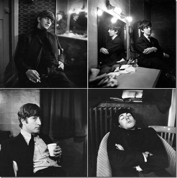 The Beatles relax backstage in East Ham, London, 1963
