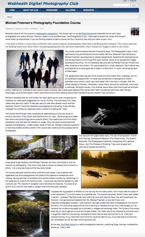 Webheath Digital Photography Club - Michael Freeman Review