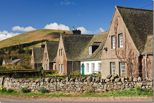 Row of farm cottages in Hethpool near Kirknweton, Northumberland. Designed in the arts and crafts style and completed in the 1920s. The village of Hethpool sits at the head of the College Valley in the National Park and is on the route of St. Cuthbert's Way., Exposure, Lightmeter, Historgram, Exposure compensation, Exposure Modes, Exposure Bracketing, stops,