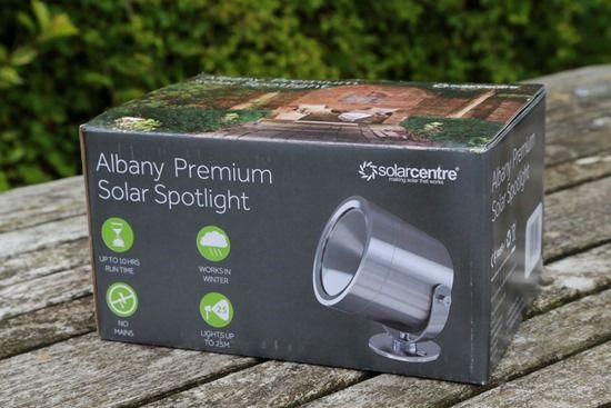 3 Albany Premium Solar spotlight packaging