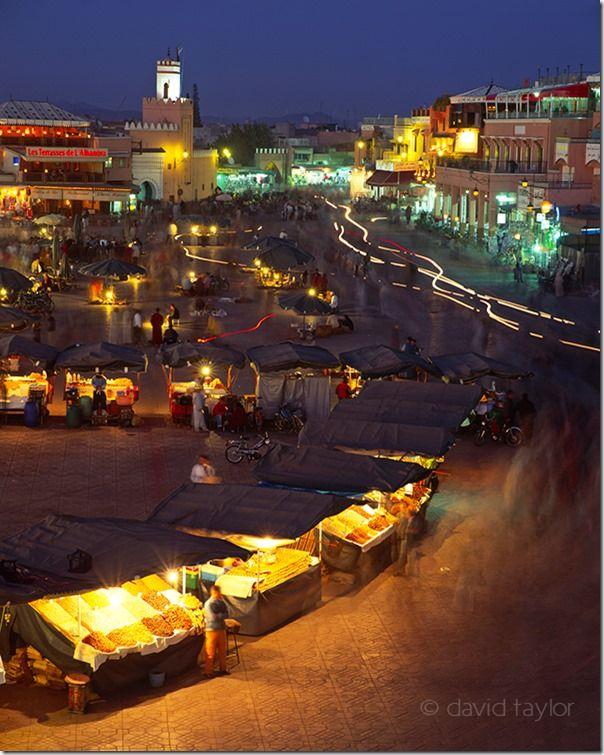 The market square of Djemaa El Fna at night, Marrakech, Morocco, Composition, lead-in, lead in, lines, landscape, photography, landscape photography,