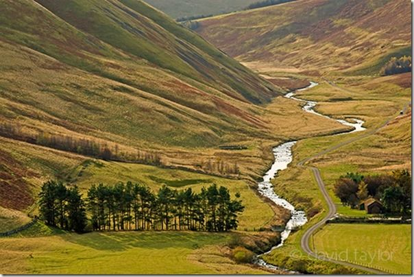 The river Coquet flowing through the Coquet near Wedder leap, shot from Barrow Law in the Northumberland National Park, England. OS REF: NT 868113, Composition, lead-in, lead in, lines, landscape, photography, landscape photography,