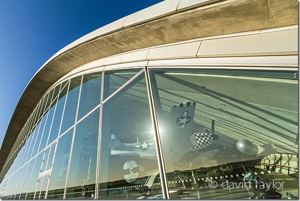 The facade of the American Air Museum gallery at Imperial War Museum Duxford, Cambridgeshire, England