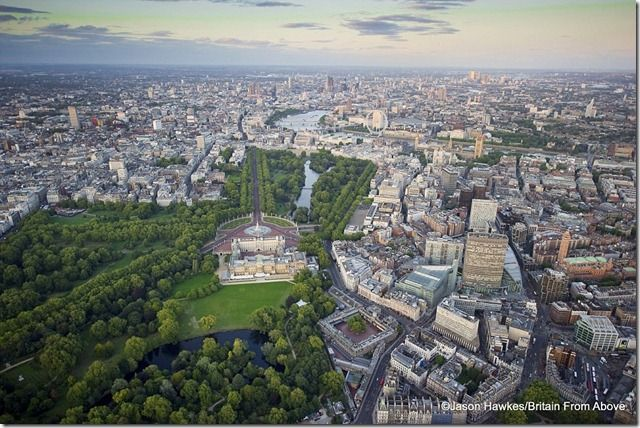 Jubilee year Buckingham Palace dominates the landscape in this aerial view of London