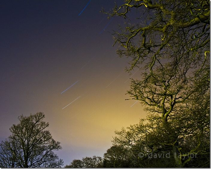 Star trails across a Northumbrian sky on a winter's evening